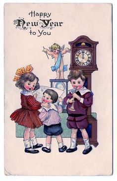 vintage new year clip art children with cupid