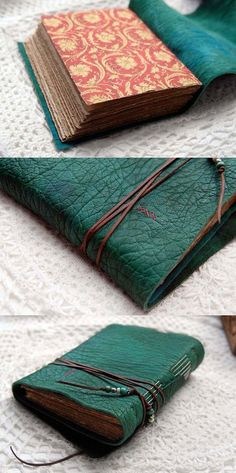 Distressed Leather Journal Emerald Dreams Hand by bibliographica