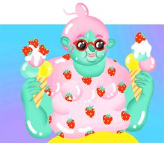 New party member! Tags: animation cute illustration summer pink drawing strawberry summertime strawberries sofia hydman sunny day summer in the city beach babe pastell summer day strawberry icecream breaking the frame summer babe icecream i scream icecream
