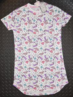 Unicorn PRIMARK NIGHTIE T Shirt I'm A Unicorn Emoji PJ Sizes 4 - 20 NEW