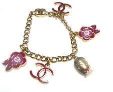 Vintage Gold Tone Chanel Camellia05P Enamel Charm Bracelet