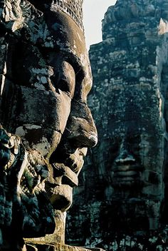 Bayon, Angkor Wat, Cambodia. Just recently vacationed here and it's absolutely stunning and unfortunately crowded with too many tourists. You literally have to doge peeps right and left.