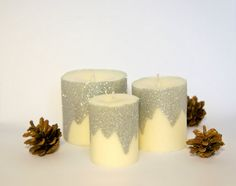 Christmas Candle  Winterland Candles  Silver Glitter by MiLiCrafts