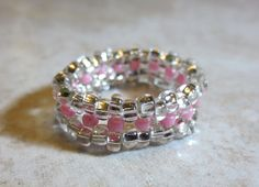 Handmade Beaded Silver and Pink Ring. Size 7.  Czech by InnerCrows, $13.00