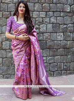 99f22e895cc24 Bhelpuri Light Purple Banarasi Patola Silk Woven Saree with Blouse Piece
