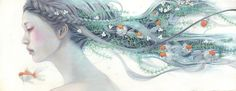 呼吸 WF6 Canvas Delicate Japanese Oil Paintings of Ethereal Woman Submerged with Nature by Miho Hirano