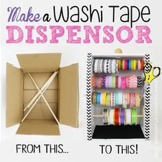 diy washi tape organizer dispensor from a box, craft rooms, crafts, how to… Ribbon Organization, Ribbon Storage, Craft Organization, Diy Washi Tape Organizer, Washi Tape Diy, Washi Tapes, Diy Washi Tape Storage, Diy Washi Tape Dispenser, Washi Tape Planner