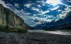 South Inylchek Glacier valley, Tien Shan, Kyrgyzstan. Trekking to South Inylchek Base Camp.