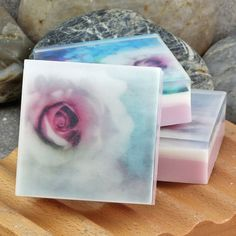 Graphic Art Soap Soft Muted Florals  - Set of 3 guest size bars  by Alaiyna  B. Bath and Body , $8.00 #etsy