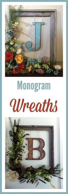 : Decorate your front door or a wall inside your home with this beautiful rustic floral monogram wreath. Built around a weathered 14 Crafts To Do, Home Crafts, Diy Home Decor, Diy Crafts, Monogram Wreath, Frame Wreath, Framed Monogram, Door Monogram, Modern Farmhouse Decor