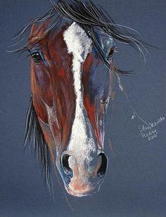 Art Print featuring the drawing Bay Horse by Paulina Stasikowska