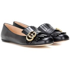 Gucci Leather Ballerinas ($790) ❤ liked on Polyvore featuring shoes, flats, black, ballerina shoes, black flats, gucci flats, leather shoes and ballet flats