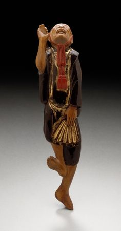 Shinto Priest Dancing, netsuke, Japan, early 19th century, Wood with lacquer, LACMA, Los Angeles #dance