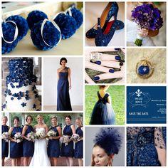 Monaco blue wedding inspiration board, dark blue wedding, navy wedding