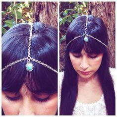 Turquoise charm Head Chain. Simple Headchain. by BrielleBelle, $20.00