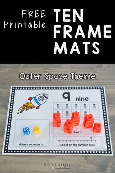 What I love about these ten frame mats is that children are learning number sense, how to read a number line, and how to create the quantity at the same time! We've also differentiated these for both preschool and pre-k math. Grab the free printables! Preschool Themes, Preschool Math, Kindergarten Learning, Maths, Space Activities, Learning Activities, Frame Mats, Outer Space Theme, Learning Numbers