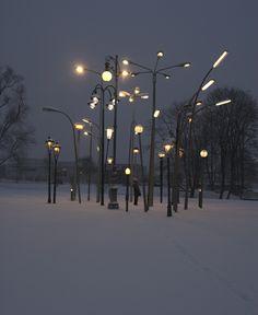 'Streetlampforest' is a collection of 30 european streetlamps from different origins and times (Amsterdam, Berlin, Erfurt, Leipzig, Glasgow, Innsbruck, Milano, Hamburg, Prag, Cagnes-sur-mer (France), Sarajevo, Stuttgart, Belgrade, Lippstadt, Munich, Sofia, Trieste,Wolfsburg and Vienna).