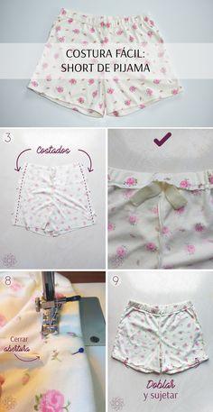 DIY: Short de pijama. Tutorial fácil y rápido. Paso a paso completo en la página web. Sewing Shorts, Diy Shorts, Sewing Clothes, Sewing Hacks, Sewing Projects, Creative Embroidery, Design Blog, Clothing Hacks, Vintage Sewing Patterns