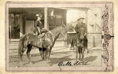 Myra Maybelle Shirley Reed Starr a.k.a.Belle Starr (L) (1848-1889), was an American outlaw affiliated with the notorious James-Younger Gang. This photo shows Belle atop a horse in Fort Smith, Arkansas, c.1886.