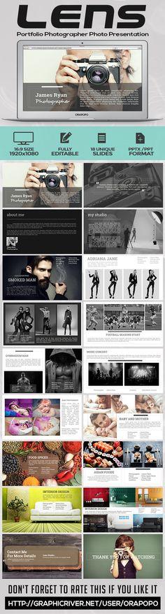 Lens Portfolio Photographer Photo Presentation - Creative PowerPoint Templates