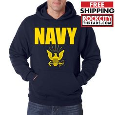 NAVY HOODIE GOLD Military Hooded Sweatshirt Blend Seal US U.S.NAVY USNAVY USA #RockCityThreads #Hoodie