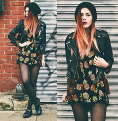 Beanie + leather jacket + pineapple dress + tights + docs - yess <3 !