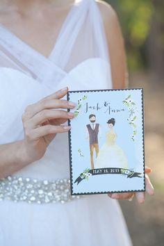 hand drawn wedding invite by Heart & Fox