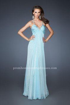 Jeweled La Femme 18896 Strap Full Length Aqua Prom Dresses