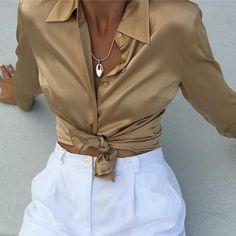 (@naninvintage) Vintage gold silk button up blouse.