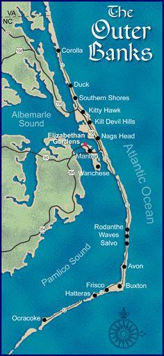 of the Outer Banks Way the other end of the state, but would love to get there one of these days.Map of the Outer Banks Way the other end of the state, but would love to get there one of these days. Outer Banks North Carolina, North Carolina Coast, Outer Banks Nc, Outer Banks Vacation, North Carolina Homes, East Coast, Kitty Hawk North Carolina, Nags Head North Carolina, Corolla North Carolina