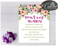 Shower Aquarelle Baby Shower Flowers Pass The Time Activities DONT SAY BABY, Printables, Printable Files, Party Décor - flp01 #babyshowergames #babyshower