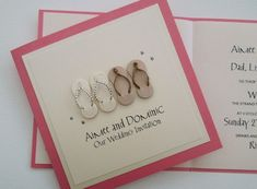 Flip Flop wedding invitations - perfect for a beach wedding whether at home or a destination overseas/abroad.