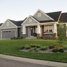 Craftsman Style Rambler - traditional - exterior - minneapolis - Vision Homes & Remodeling Trim w/ Stone