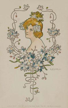 Blue Flowers.1900. Serie : Tough Choice. Vintage post card.  Signed E.Döcker.jun.