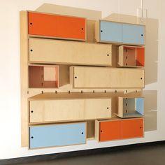 Kerf Wall - Sliding doors #kerfdesign # Kerfwall #pegboard #Slidingdoors #cabinets #shelving #midcentury #midcenturyinspired #office