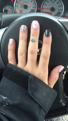 Ballet pink, Niagra Falls sparkle, and Cool Grey nails.