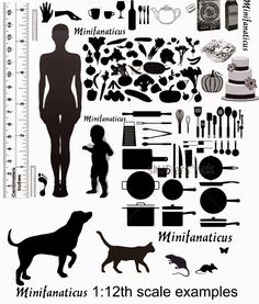 Very useful scale guide printable from Jane at Minifanaticus. Dollhouse Miniature Tutorials, Miniature Crafts, Miniature Fairy Gardens, Dollhouse Dolls, Miniature Houses, Miniature Dolls, Dollhouse Ideas, Clay Miniatures, Dollhouse Miniatures