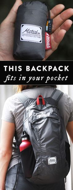 With a packable backpack that fits into a palm-sized pocket, it's easy to keep on-hand, whether you're out doing errands or on an outdoor adventure. The roomy—and handy—design is lightweight and durably built with waterproof and puncture-resistant nylon, Camping Bedarf, Camping Survival, Survival Gear, Outdoor Camping, Camping Hacks, Camping Guide, Travel Hacks, Camping Stuff, Camping Essentials