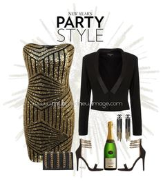A sleeveless bandeau sequin party dress, a tuxedo jacket and some strappy heels make a great combination to ring in the New Year. Some fabulous earrings and a matching clutch is all you need to add...