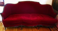 This Red Velvet couch is a multiple style icon, its Goth, its Glam, It's Gypsical, It's Bohemical, it can even be Part of A Victorian Style Decorated home.. Vercitial Piece will out last and out do any Style changes you will ever wanna make,  and will be the center of your room as well as decor. It will be there when your daughter wants her punk style and then grows past it