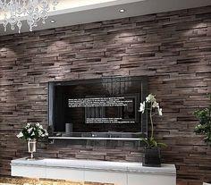 Luxury wood blocks brick wall effect vinyl 10M wallpaper Roll living room brown #Unbranded