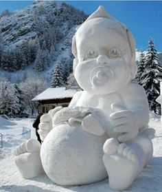 Big (Big!) Baby Snow Sculpture: 10 Amazing Snow and Ice Sculptures - mom.me