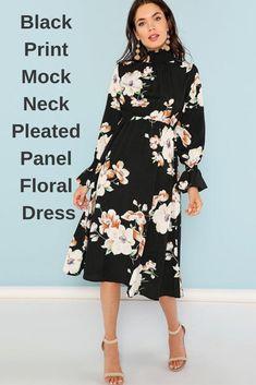 a10d3f9f6b23e3 Black Print Mock Neck Pleated Panel Floral Dress Elegant Ruffle Streetwear  Trip High Waist Women Autumn Dresses