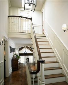 Foyer. Traditional foyer with beautiful staircase. #Foyer #Staircase