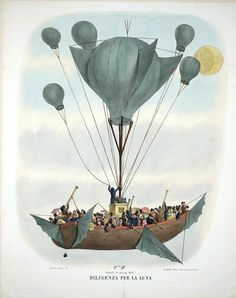 Painting of a strange airship/balloon inspired by a hoax involving life on the moon, 1830's. From Retronaut.