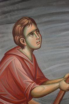 Iconographer Dimitris Maniatis – icoana Writing Icon, Byzantine Art, Orthodox Icons, Vignettes, Fresco, Disney Characters, Fictional Characters, Scene, Christian