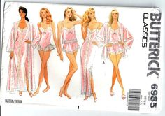 Butterick 6985 -  Lingerie, Robe, Nightgown, Camisole, Panties, and Teddy -  Misses Size XS, S, M   Womens  Vintage Sewing Pattern. $23.00, via Etsy.