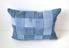 Woven denim pillow created from upcycled denim by SunnyLemons