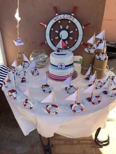 Nautical baptism cake and give a ways. Baby Party, Baby Shower Parties, Baby Shower Themes, Baby Boy Shower, Sailor Baby Showers, Anchor Baby Showers, Sailing Party, Nautical Party, Nautical Baptism