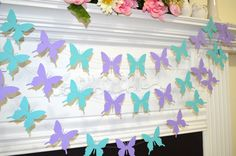 Butterfly garland, wedding garland teal lilac purple butterfly, butterfly theme decor, birthday decor, baby shower garland, butterflies by DCBannerDesigns on Etsy https://www.etsy.com/listing/212508368/butterfly-garland-wedding-garland-teal